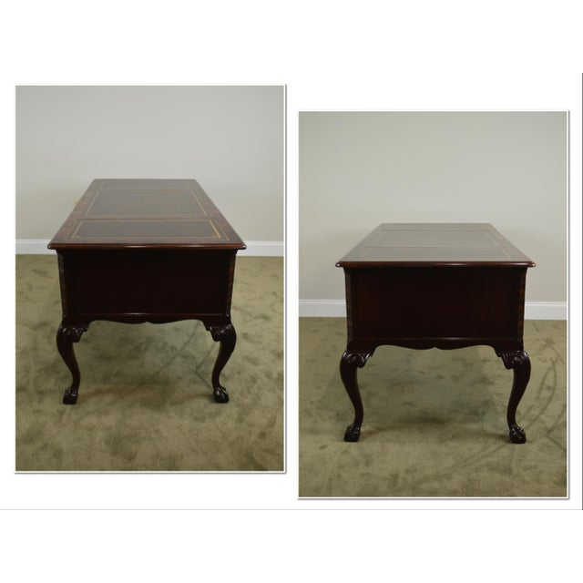 *STORE ITEM #: 18796 Sligh Chippendale Style Mahogany Ball & Claw Leather Top Desk AGE / ORIGIN: Approx. 25 years, America...