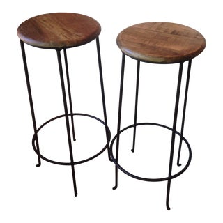 Distressed Wooden Barstools - A Pair For Sale