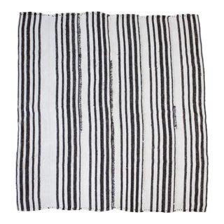 Vintage Flat Weave Hemp Stripe Turkish Rug White With Dark Brown Stripes For Sale
