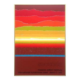 Arthur Secunda Rare Vintage 1980 Serigraph Print Framed Modernist Swiss Exhibition Poster For Sale