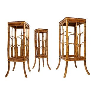 Set of Three Vintage Bohemian Tortoise Shell Bamboo Plant Stand Nesting Tables For Sale