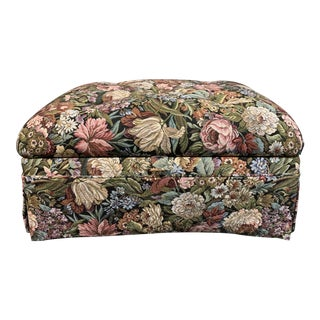 Custom Floral Tapestry Storage Ottoman For Sale