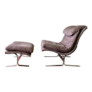 Mid Century Modern Saporiti Style Suede + Chrome Lounge Chair and Ottoman For Sale