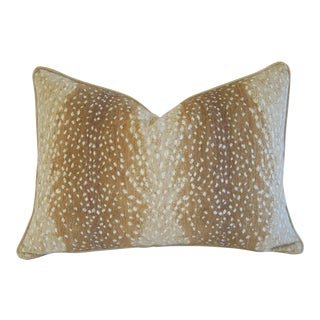 "Large Speckled Fawn Spot Velvet Feather/Down Pillow 26"" X 18"" For Sale"
