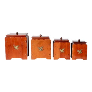 Vintage Wooden Canisters With Brass Eagles - Set of 4 For Sale