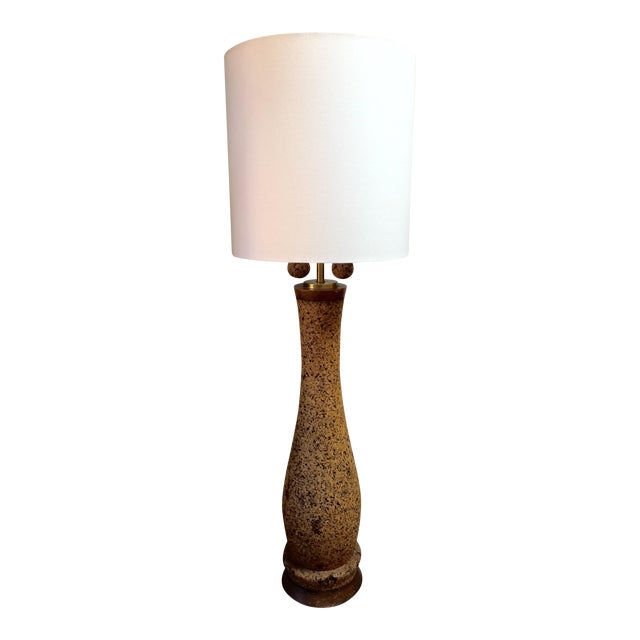 Mid-Century Cork Floor Lamp With Linen Shade For Sale