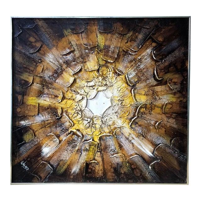 1960s Brutalist Sunburst Painting Signed Walker For Sale