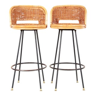 Mid Century Modern Bamboo Rattan & Wrought Iron Swivel Bar Stools - a Pair For Sale