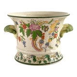 Image of Vintage Green Floral Chinoiserie Cachepot With Handles For Sale