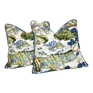 Thibaut Printed Pillows in Linen and Cotton - a Pair For Sale