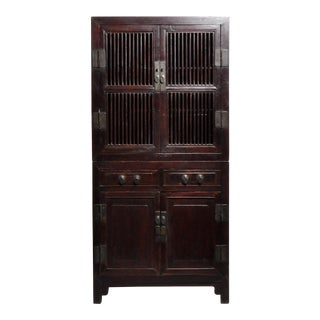 Mid 19th Century Chinese Lattice Kitchen Cabinet With Original Patina For Sale