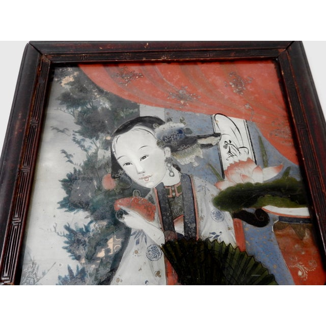 Antique Reverse Glass Painting For Sale - Image 4 of 5