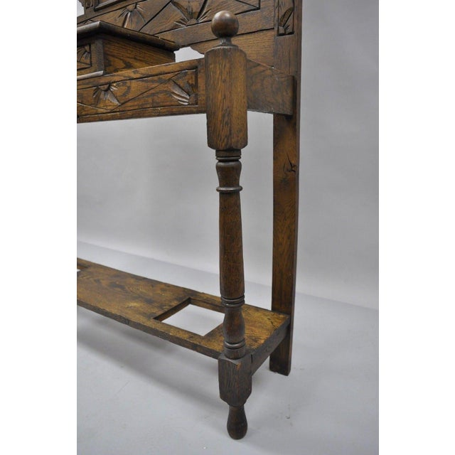 Glass Antique Carved Griffin Oak Jacobean Renaissance Hall Tree Coat Umbrella Stand For Sale - Image 7 of 13
