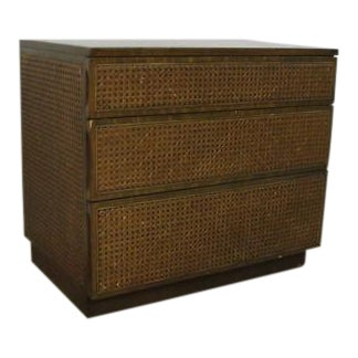 Edward Wormley Directional Danish Modern Woven Cain Dresser For Sale