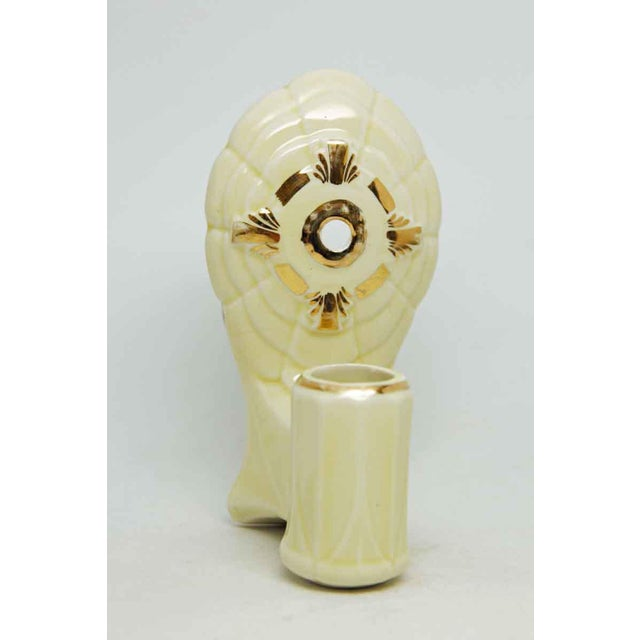 White 1930s Porcelain Ivory Colored Sconces With Gold Detail For Sale - Image 8 of 8