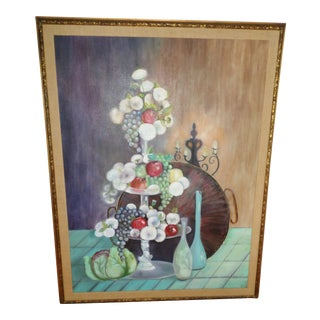 1950s Mid Century Modern Still Life Oil Painting on Canvas in Original Frame For Sale