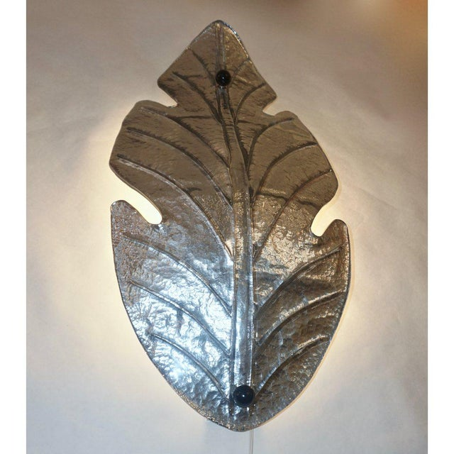 Metal 1980 Italian Vintage Nickel Pair of Tall Silver Color Murano Glass Leaf Sconces For Sale - Image 7 of 10