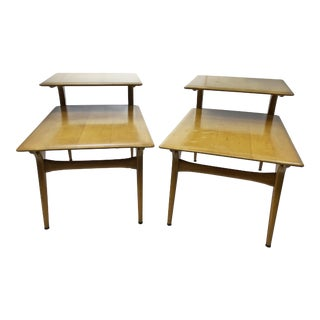 Mid Century Modern Heywood Wakefield Wood Step Tables - A Pair