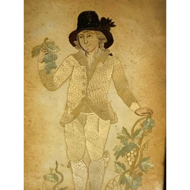 Traditional Early 20th Century Framed Two Sided English Silk Embroideries of Regency Twins For Sale - Image 3 of 8