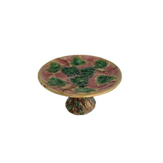 Griffin, Smith & Hill Etruscan Majolica Maple Leaf Compote on Pink Ground For Sale