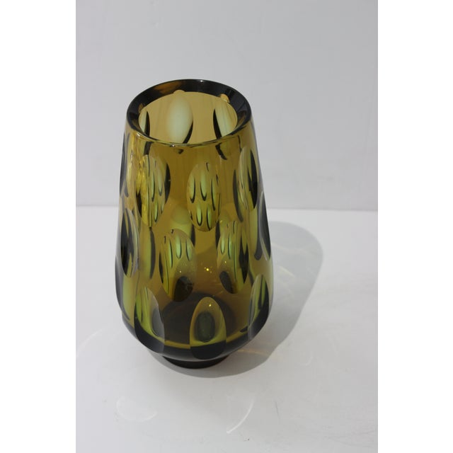 Mid-Century Modern Swedish Vase With Optic Ovals - Smokey Olive Green and Brown - with a deep red base - from a Palm Beach...