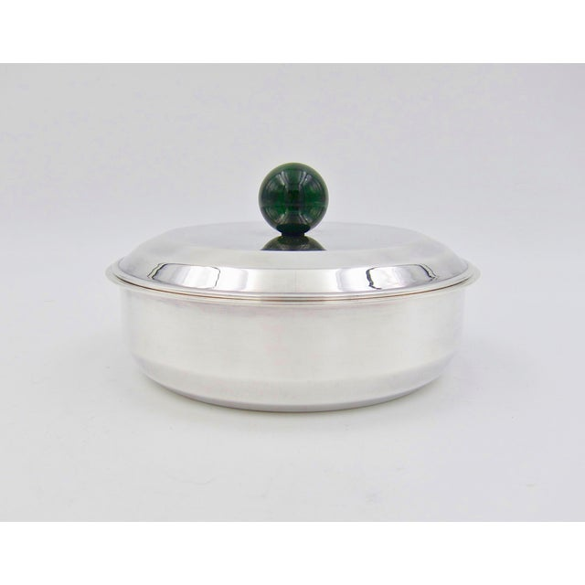 Puiforcat French Art Deco Silver-Plate Bonbonniere Box With Green Enamel Finial For Sale - Image 11 of 13