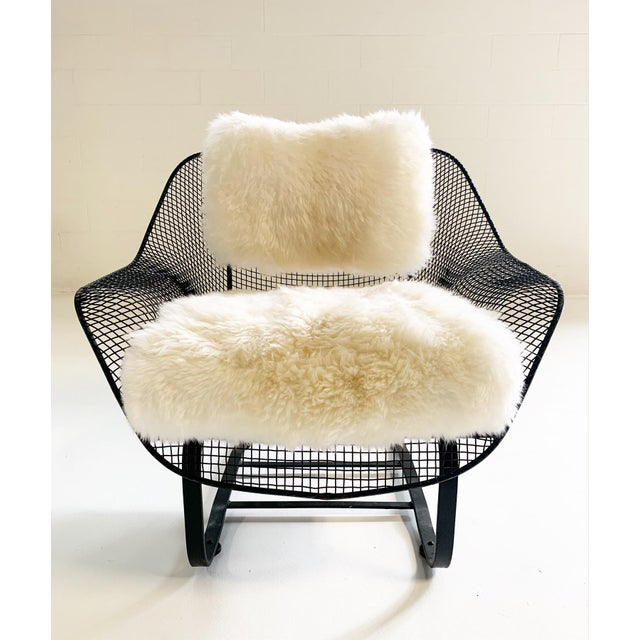 Mid 20th Century Russell Woodard Sculptura Lounge Chairs and Ottoman With Sheepskin Cushions For Sale - Image 5 of 10