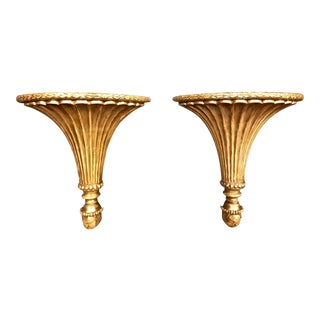 Neoclassical Carved Gilt Wood Brackets, Pair C. 1790-1800 For Sale