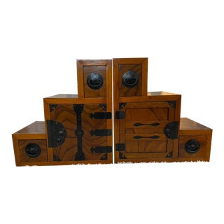 Early 20th Century Japanese Step Tansu Modular Cabinet - a Pair For Sale