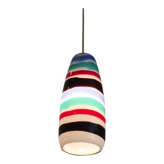Mid Century Striped Pendant Light For Sale