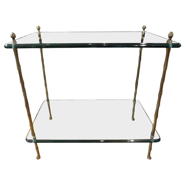 Italian Bronze and Glass Two Tiered Table For Sale