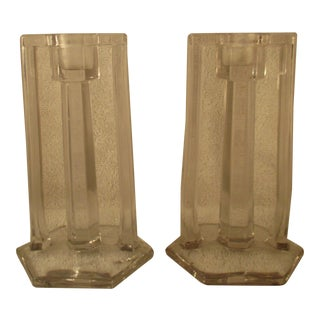 1930s French Art Deco Clear Crystal Candlesticks - a Pair For Sale