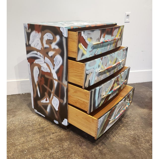 Memphis Group Graffitied Artist Painted Chest of Drawers For Sale - Image 4 of 10