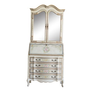 Late 20th Century French Provincial Hand Painted Secretary Desk For Sale
