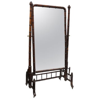 French Victorian Antique Faux Bamboo Cheval Mirror in Mahogany With Casters For Sale