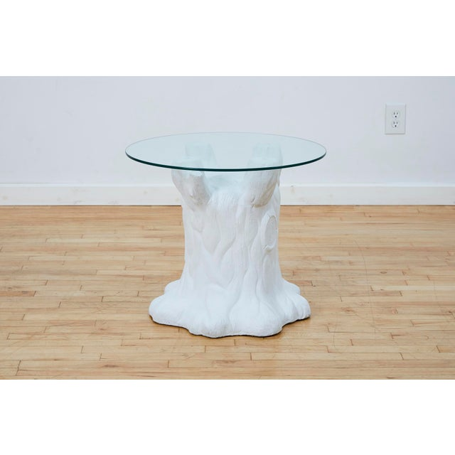 Postmodern Vintage Plaster Tree Trunk Side Table For Sale - Image 3 of 13