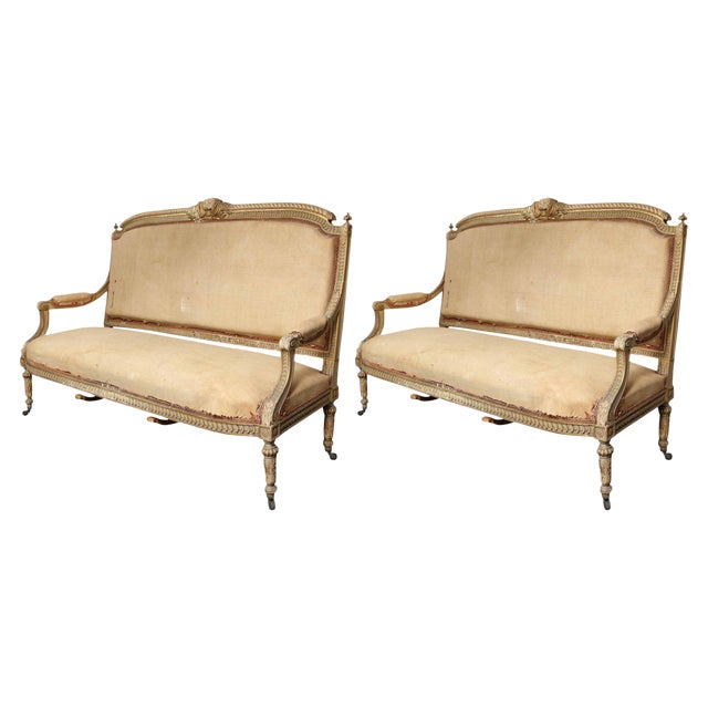 Pair of 19th Century, Louis XVI Settees For Sale