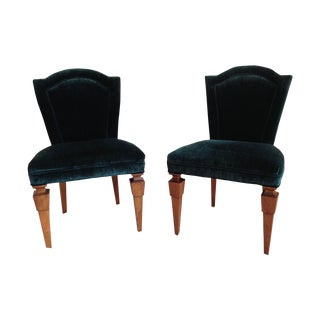 Emerald Velvet Slipper Chairs - A Pair