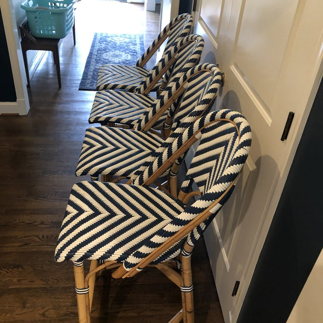 Serena & Lily Serena & Lily Chevron Riviera Stools - Set of 4 For Sale - Image 4 of 8
