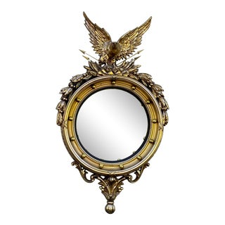 Oversize Gold Round Early Americana Federal Admiral Eagle Convex Wall Mirror For Sale
