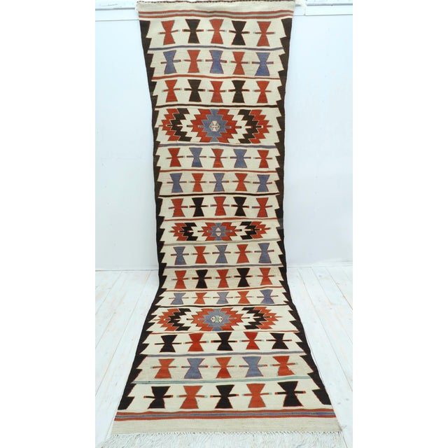 "Vintage Turkish Kilim Runner-3'5'x10'11"" For Sale - Image 11 of 13"