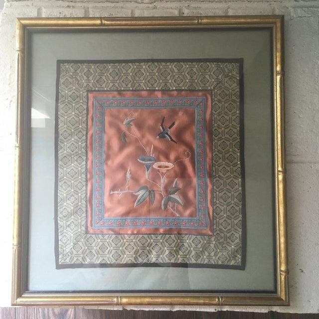 1960s Vintage Oriental Framed Embroidered Silk Textile Art For Sale - Image 5 of 5