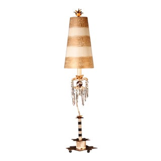 Birdland Whimsical Striped Shaded Buffet Table Lamp For Sale