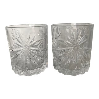 Italian Crystal Old Fashioned Whisky Glasses - a Pair For Sale
