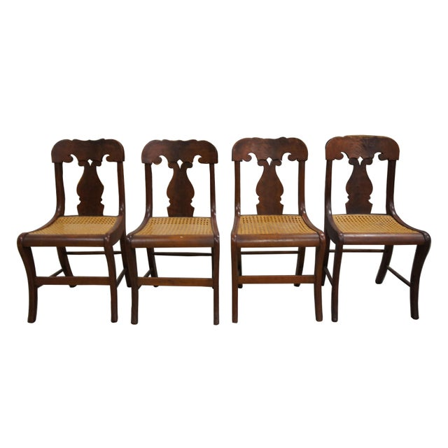 Mid 19th Century Antique Crotch Walnut Federal Empire Cane Seat Dining Side Chairs- Set of 4 For Sale - Image 12 of 12
