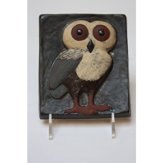 Danish Modern Danish Modern Terracotta 'Owl' Tile by Thyssen Keramik For Sale - Image 3 of 8