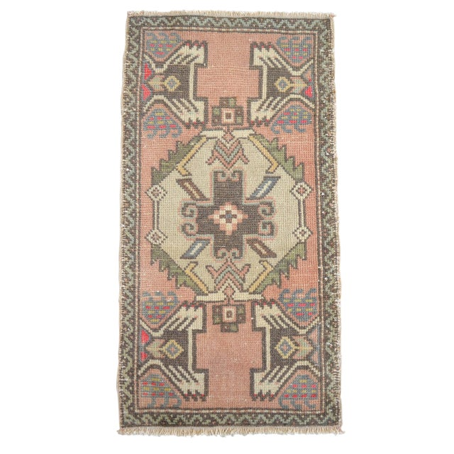 Distressed Low Pile Turkish Yastik Rug Faded Bathrom Rug Mat - 1'8'' X 3'1'' For Sale