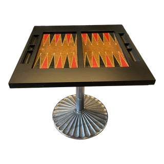 Vintage Leather Backgammon Table With Metal Base For Sale