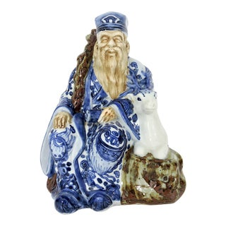 Signed Japanese Blue and White Kutani Porcelain Statue Figure of Sau, the Immortal With His Deer For Sale
