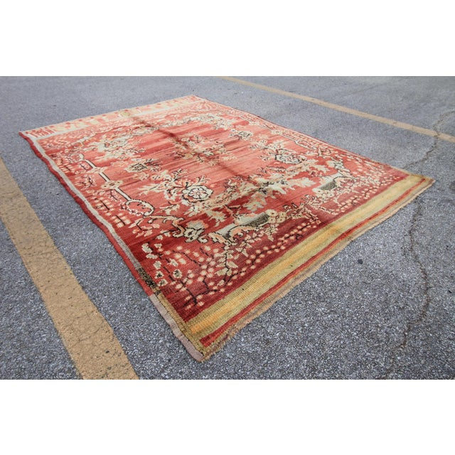 Islamic Vintage Tribal Antique Turkish Oushak Hand Knotted Rug - 5'1 X 7'5 For Sale - Image 3 of 6